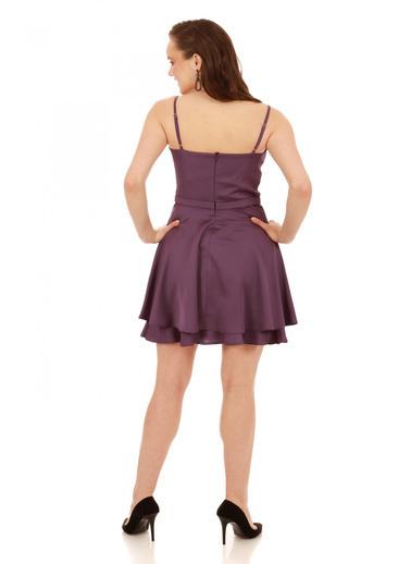 6ixty8ight Lila Krep Beli Boncuk İşlemeli Kısa Abiye Elbise Lila